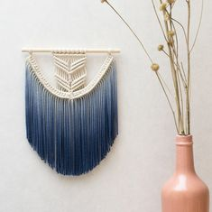 "Small Macrame Wall Hanging - Macrame Curtains - Macrame Wall Art - Macrame Patterns - Wall Tapestry - Dip-dye Tapestry - Home Decor - ""EVA"" by TeddyandWool on Etsy https://www.etsy.com/listing/279713894/small-macrame-wall-hanging-macrame"