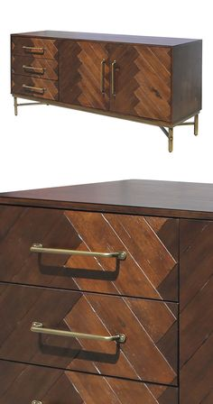 Elegantly conceal your dinnerware or living space accessories in this stunning Carlton Buffet. Beautifully accented with medium—and dark-finished wood slats, this transitional buffet's two doors and th...  Find the Carlton Buffet, as seen in the Bohemian Meets Mid-Century Collection at http://dotandbo.com/collections/bohemian-meets-mid-century?utm_source=pinterest&utm_medium=organic&db_sku=118430