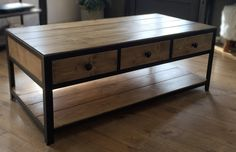 """Coffee table composed of three drawers with handles """"button"""" and 2 wooden trays solid antique oak color. Metal Furniture, Industrial Furniture, Oak Color, Wood And Metal, Home Kitchens, Wood Projects, Drawers, Sweet Home, Woodworking"""