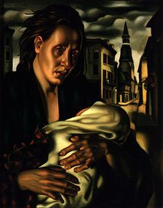 """Escape  circa 1940 Oil on canvas 50,8 x 40,6 cm (20 x 16 in)  T.DE LEMPICKA. (top left) (La fuite *) This work was painted just shortly after Lempicka arrived in the States (American-size format). It evokes the hardships of war in Europe, and was displayed in 1941, under the title """"Somewhere in Europe"""", at the New York Julian Levy Gallery."""