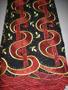 Red and Black Luxury Swiss Voile African Lace Fabric 5 yards, Wholesale African…