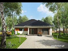 Projekt domu Walery - dom parterowy, pokryty dachem czterospadowym, z garażem ceramika - Archeton.pl
