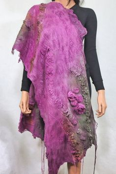 Nuno felted scarf Chunky  Long Felt Shawlf Textured by RaisaFelt, $249.00