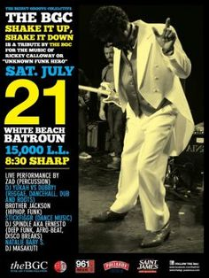 Shake it Up, Shake it down, a Tribute to Rickey Calloway, the Unknown King of Funk, Party (Beach), A tribute by the Beirut groove Collective for the music of Rickey Calloway known as the 'unknown funkn hero'. Celebrating the new of Calloway. Limited CDs will be given out.    Line up  Zad (Percussio...