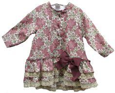 Vestido estampado en tonos roas con manga larga y falda de volante - Vestidos para Bebé y Niña hasta los 4 Años - Mundo Kiriko