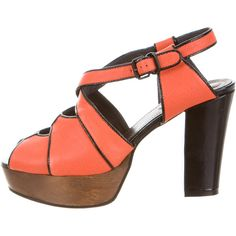 Pre-owned See by Chloe Leather Platform Sandals (185 NZD) ❤ liked on Polyvore featuring shoes, sandals, orange, ankle wrap sandals, ankle strap platform sandals, wood platform shoes, leather shoes and ankle strap sandals