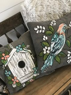 White Birdhouse on Gray Bird Pillow Farmhouse Decor Coordinating Set Cottage Style White Pillows Hand-painted Pillow Cover Shabby Cottage, Cottage Style, Fabric Painting, House Painting, Bird Pillow, Pillow Set, Diy Pillow Covers, Bird Houses Painted, Glass Birds