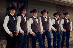 Western groom and groomsmen attire