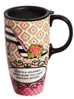 Life's A Journey Ceramic Latte Travel Cup Mug w/Gift Box 17 oz. The perfect travel accessory for anyone that's constantly on the go! This ceramic mug is decorated in an eye catching pattern and will hold up to 17 ounces of liquid. Mug is both dishwasher and microwave safe and comes packaged in a matching gift box. Add a touch of decoration to your drink when you're on the go with this Life's A Journey Ceramic Travel Coffee Mug with Gift Box.