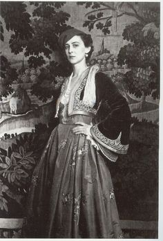 Princess Marina of Greece, Duchess of Kent in a Greek traditional costume. Greek Traditional Dress, Traditional Outfits, Greek Royalty, Greek Royal Family, Corset, Vintage Outfits, Vintage Fashion, Folk Fashion, Princess Alexandra