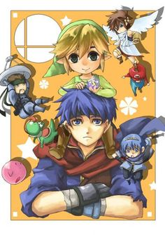 Super Smash Bros Marth,Toon Link, Ike, Snake, Pit, Kirby, Yoshi and Mario