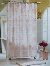 NEW SIMPLY SHABBY CHIC PINK FLORAL TOILE SHOWER CURTAIN 72X72