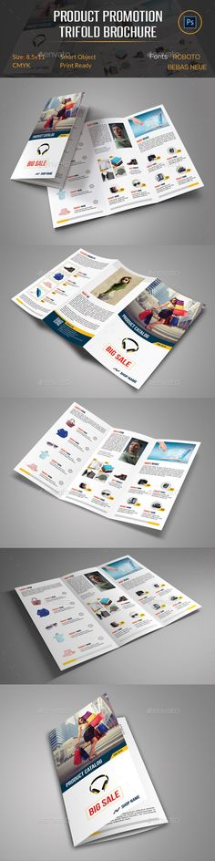 Product Promotion Trifold Brochure Template can be used on any business purpose or others. It is fully editable & easily photo cha