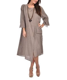 Another great find on #zulily! Taupe Linen Asymmetric-Hem Dress - Plus Too #zulilyfinds