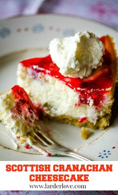 Scottish cranachan cheesecake is perfect for a dinner party or special tea. #scottishbaking #scottishrecipes #teatime #cakesandbakes #homeebaking #cheesecake #cranachan #larderlove Scottish Desserts, Scottish Recipes, Delicious Cake Recipes, Yummy Cakes, Dessert Recipes, Baking Tins, Baking Recipes, Dessert From Scratch, Home Baking