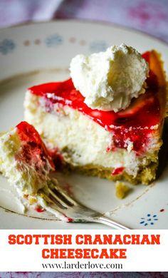 Scottish cranachan cheesecake is perfect for a dinner party or special tea. #scottishbaking #scottishrecipes #teatime #cakesandbakes #homeebaking #cheesecake #cranachan #larderlove