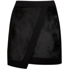 Ted Baker LACEA Pony skin effect leather mini skirt ($237) ❤ liked on Polyvore featuring skirts, mini skirts, black, leather miniskirt, panel skirt, zipper mini skirt, wrap skirt and short mini skirts