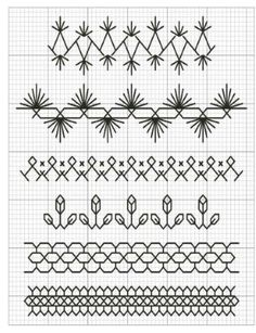 Trim stitches for edging. Kasuti Embroidery, Embroidery Stitches Tutorial, Embroidery Techniques, Ribbon Embroidery, Cross Stitch Embroidery, Embroidery Patterns, Cross Stitch Patterns, Crazy Quilt Stitches, Crazy Quilt Blocks