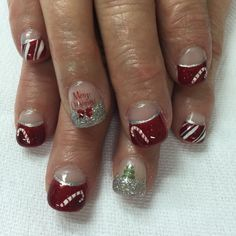 Red and silver Christmas High French gel nails with candy cane, tree and Xmas accents. All done with non-toxic and odorless gel.