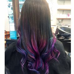 Purple blue and pink ends on balayage ombre