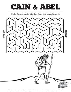 Cain and Abel Activity and Coloring Sheet for Children's