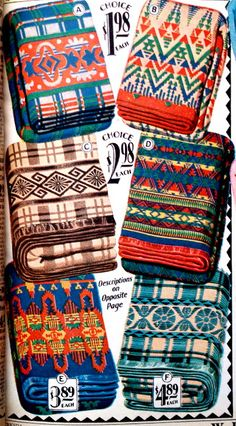 Pendleton blankets from a 1930s Montgomery Ward catalog
