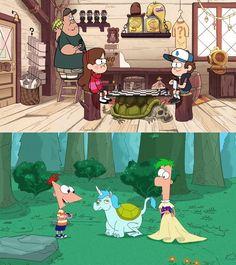 Se dan cuenta de que el esqueleto de animal que sirvió como mesa de Dipper y Mabel es exactamente el mismo animal extrano que Phineas y Ferb descubrieron???