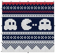 Pacman - free pattern for cross stitch or hama beads or KNITTING! Cross Stitch Borders, Cross Stitching, Cross Stitch Embroidery, Cross Stitch Patterns, Fair Isle Knitting Patterns, Knitting Charts, Knitting Stitches, Sock Knitting, Knitting Machine
