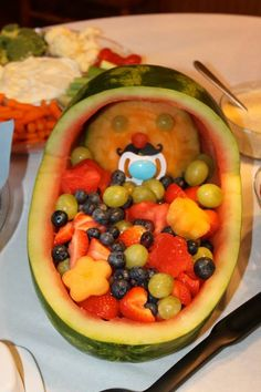 Little man mustache baby shower. Watermelon baby carriage with mustache Baby Shower Gender Reveal, Baby Boy Shower, Watermelon Baby Carriage, Little Man Shower, Chelsea Baby, Baby Bash, Baby Makes, Everything Baby, Baby Love