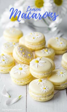 Brighten your day with these delicious Lemon Macarons decorated with a few brushstrokes of royal icing and sprinkles to help usher in the first warm days of spring. Desserts Français, Delicious Desserts, Dessert Recipes, Plated Desserts, French Macaroon Recipes, French Macaroons, Macaron Filling, Macaron Flavors, Lemon Recipes