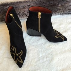 Acne Suede Pointy Toe Boots Acne suede boots with block heel and embroidery. Like new! Pointy toe. The embroidery is with gold thread. The heel is hollow. Will ship in a shoe box. I also have 2 Acne dust bags that came with the shoes. Only worn once. Acne Shoes Ankle Boots & Booties