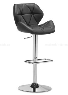Refine your style and space with the Black Jacoby barstool. The seat is wrapped in tufted in a fine  leatherette on a sturdy chrome base. #Zuo #Furniture #Canada #Decor