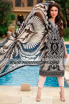Faraz Manan Crescent Lawn 2014 with Kareena Kapoor in California Kareena Kapoor has posed for the Latest Crescent Lawn Collection 2014 from Faraz Manan. Bollywood Stars, Bollywood Fashion, Bollywood Actress, Ethnic Outfits, Indian Outfits, Indian Dresses, Karena Kapoor, Desi Clothes, Indian Clothes