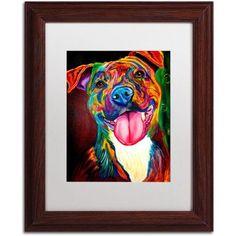 Trademark Fine Art Smile Time Canvas Art by DawgArt, White Matte, Wood Frame, Size: 11 x 14