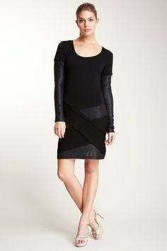 Nicole Miller Long Sleeve Sequin & Jersey Dress