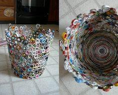 wastebasket from old magazines