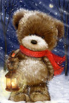 Good art to study for painting bears Christmas Scenes, Noel Christmas, Christmas Clipart, Vintage Christmas Cards, Christmas Greeting Cards, Christmas Pictures, Christmas Greetings, Christmas Crafts, Christmas Teddy Bear