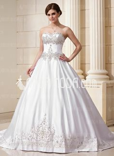 Wedding Dresses - $283.99 - Ball-Gown Sweetheart Chapel Train Satin Wedding Dress With Embroidery Beadwork Sequins (002011761) http://amormoda.com/Ball-gown-Sweetheart-Chapel-Train-Satin-Wedding-Dress-With-Embroidery-Beadwork-Sequins-002011761-g11761