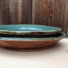Stoneware Blue and Forever Green glazes make this nice turquoise color on this handmade ceramic plate set