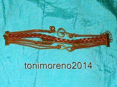 tonimoreno2014: Pulsera de cuero color marron y bronce!!!