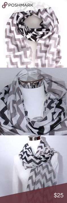 Black, White and Gray Chevron Scarf Brand new! Light weight scarf featuring a chevron pattern. Perfect for the fall! Measures approximately 80 inches long by 43 inches wide. Made of 100% polyester. Please no holds, trades, or pp. Price is FIRM unless bundled. Thank you! Faith and Sparkle Accessories Scarves & Wraps