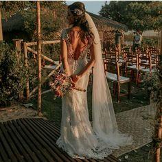 Vestido de noiva casamento na praia ou campo