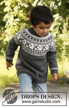 "Knitted DROPS jumper worked top down in ""Karisma"" or ""Merino Extra Fine"" with round yoke and Norwegian pattern. Size 3 - 12 years."