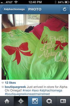 Pretty Little Alpha Chi Sorority Outfits, Sorority Shirts, Alpha Apparel, Delta Phi Epsilon, Alpha Chi Omega, Pretty Little, Boom Boom, Shirt Ideas, Sweatshirts
