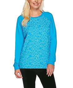 Look at this #zulilyfind! Deep Turquoise Chain-Stitch French Terry Sweatshirt - Plus Too by Quacker Factory #zulilyfinds