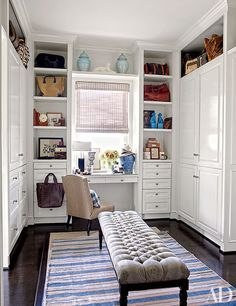 Part closet, part office, this tiny space is big on functionality and style. | archdigest.com