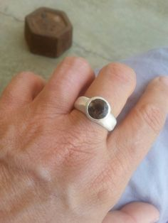 Check out this item in my Etsy shop https://www.etsy.com/il-en/listing/243111727/sterling-silver-smoky-quartz-ring-simple