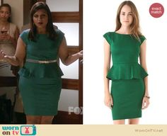 Mindy's teal green peplum dress with jewelled belt on The Mindy Project.  Outfit details: http://wornontv.net/15357/