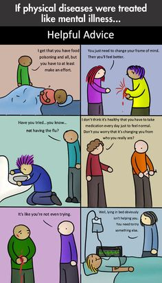 Physical diseases vs. mental illnesses… Sad but true perspective of society. Both are very real