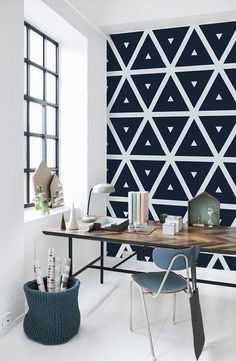 Looking for home office ideas that will inspire productivity and creativity? Discover 65 stunning home office design ideas that make will make work fun. Vinyl Wallpaper, Geometric Wallpaper, Adhesive Wallpaper, White Wallpaper, Pattern Wallpaper, Office Wallpaper, Temporary Wallpaper, Graphic Wallpaper, Wallpaper Designs